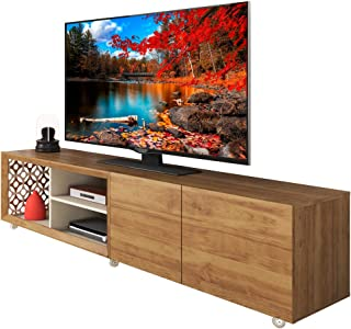 Mid Century TV Stand 72 Inches TV With Silicone Wheels Laser Mosaic Details Farmhouse Design