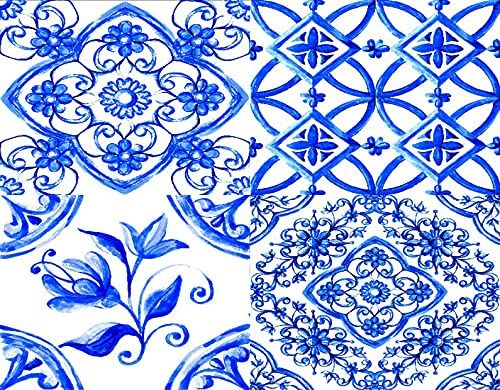 TISAGUER 5D Diamante Pintura por Número Kit,Mayólica italiana Acuarela sobre baldosas de cerámica en colores azules Decorativo acogedor,Bricolaje Diamond Painting kit completo Bordado