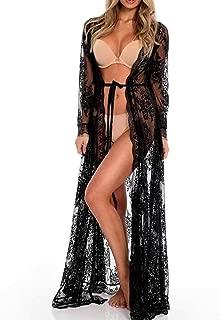 Womens Lace Floral Long Maxi Beach Dress Swimwear Bikini Cover Up