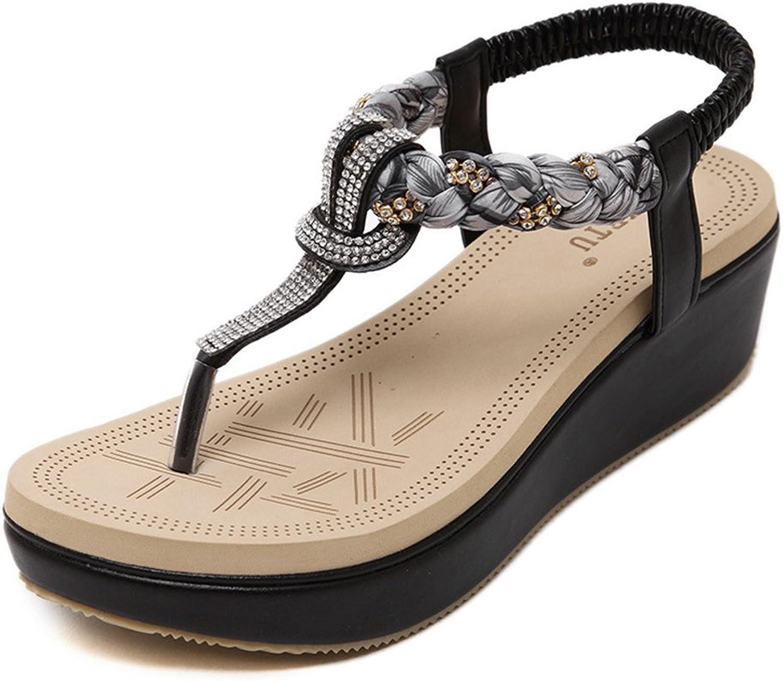 Btrada Women's Bohemian Wedge Sandals Clip Toe Platform T-Strap Thong Flip Flops Rhinestone Dress shoes