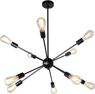 JHLBYL Sputnik Chandeliers 10 Lights Modern Pendant Lighting Black Industrial Vintage Ceiling Light Fixture for Kitchen Dining Room Living Room