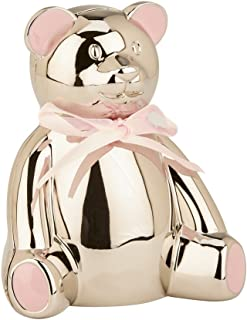 Creative Gifts International Teddy Bear Bank with Pink Highlights, 4.25 x 3.75 inches, Silver