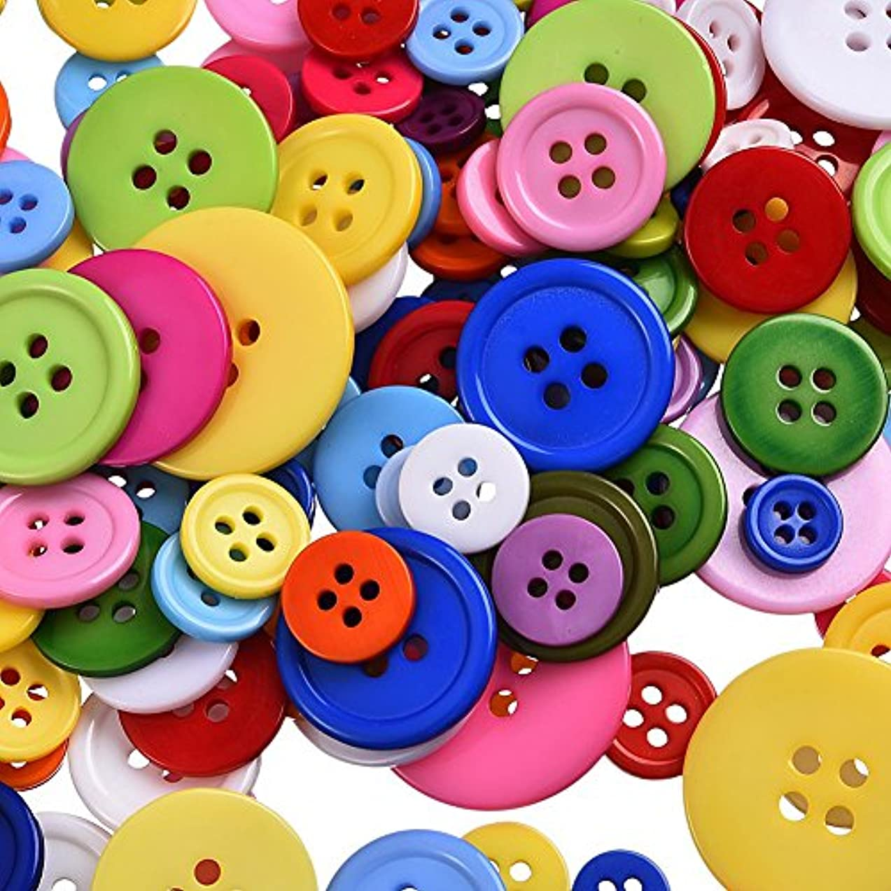 500 Pieces Assorted Buttons For Crafts Mixed Color Resin Round Buttons Craft Buttons Favorite Findings Basic Buttons, Assorted Colors and Sizes