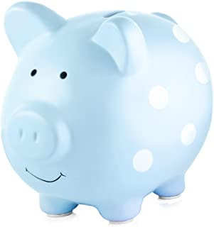 Pearhead Ceramic Piggy Bank, Makes a Perfect Unique Gift, Nursery Décor, Keepsake, or Savings Piggy Bank for Kids, Blue with White Polka Dots