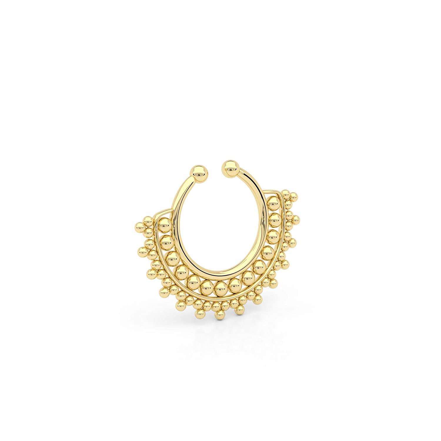 Tiny New popularity Fake Septum 2021new shipping free shipping Nose Ring Indian Clip Tribal Faux Style Brass