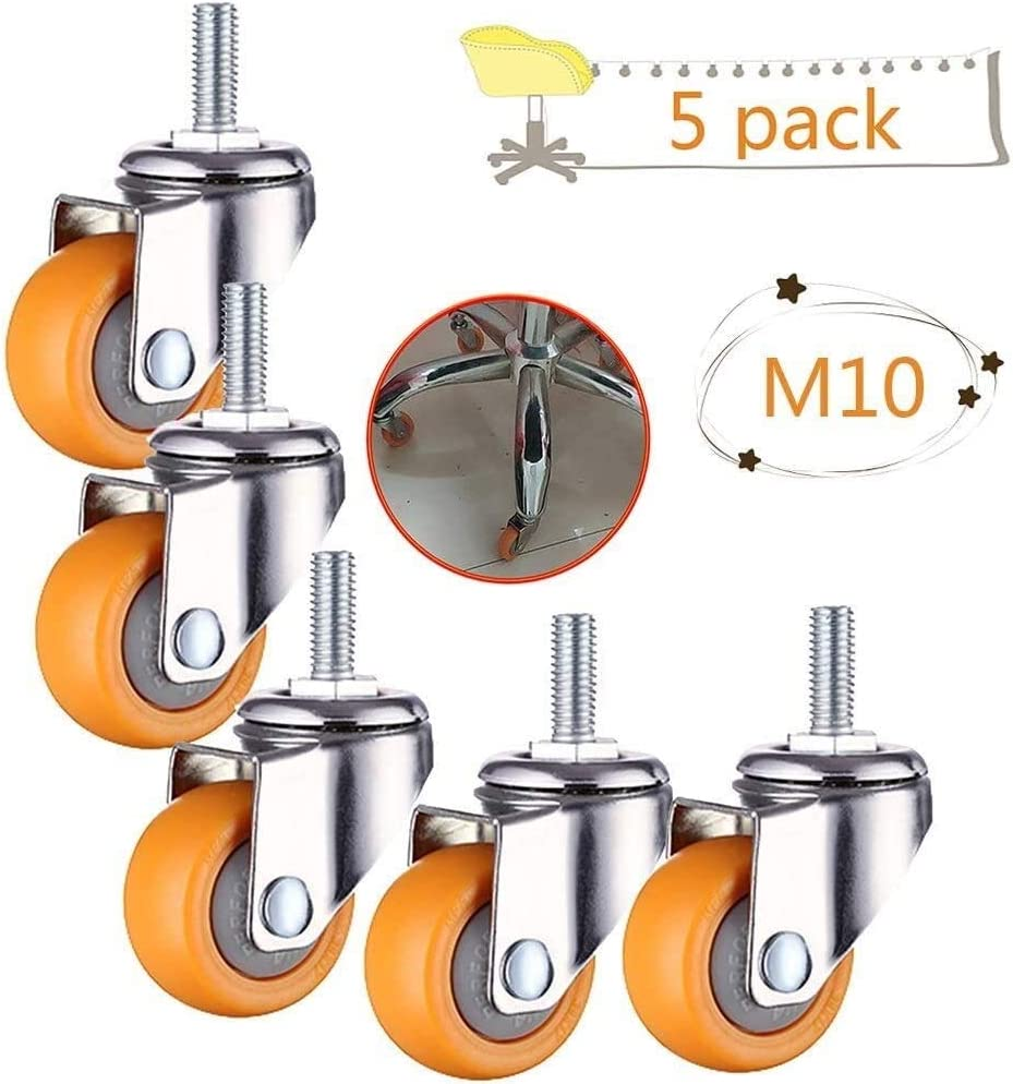 38mm YIWANGO Office Chair Castor Wheels Replacement Swivel Stem Caster,Heavy Duty 100KG Screwed Workbench Caster kit Color : M10, Size : 1.5in Set of 5
