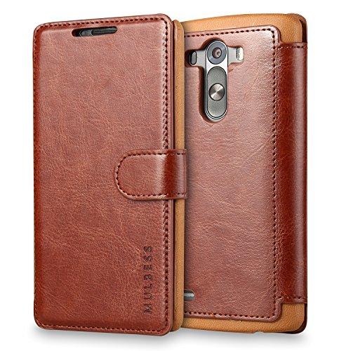Mulbess Handyhülle für LG G3 Hülle Leder, LG G3 Handy Hüllen, Layered Flip Handytasche Schutzhülle für LG G3 Case, Braun