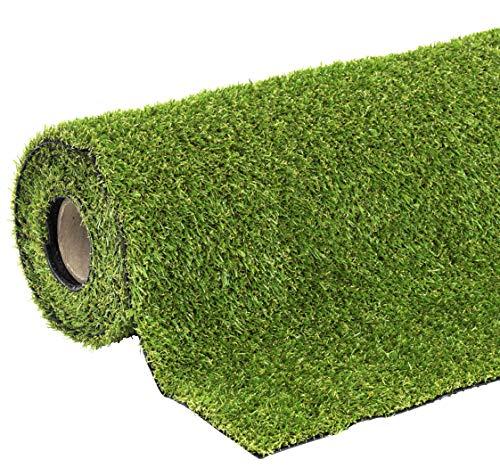 KunstrasenYork Rasenteppich 100 x 400 cm wasserdurchlässig mit Drainagefunktion für Balkon und Terrasse, UV-beständig, Florhöhe 20 mm , 06710