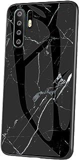 Jinghaush Kompatibel med Huawei P30 Pro fodral härdat glas hårt fodral marmor, svart
