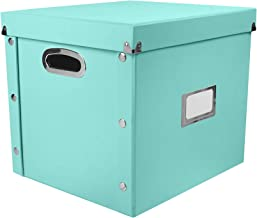 Snap-N-Store SNS01593 Vinyl Record Storage Case with Lid, Holds up to 75 Records, 13.375 x 12.625 x 12.5 Inches, Mint