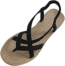 JTYR Summer Shoes for Women Elastic Flat Sandals Women's Sandals with Straps Beach Gladiator Sandals Womens Comfy Barefoot Flat Peep-Toe Summer Sandals 36