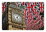 Ambesonne Union Jack Pet Mat for Food and Water, UK Flags Background with Big Ben Celebrations Loyalty, Non-Slip Rubber...