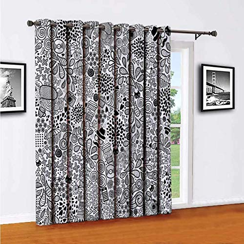 Doodle Shading Insulated Curtain Hipster Cupcake Tea for Bedroom,Kindergarten,Living Room W96 x L108 Inch