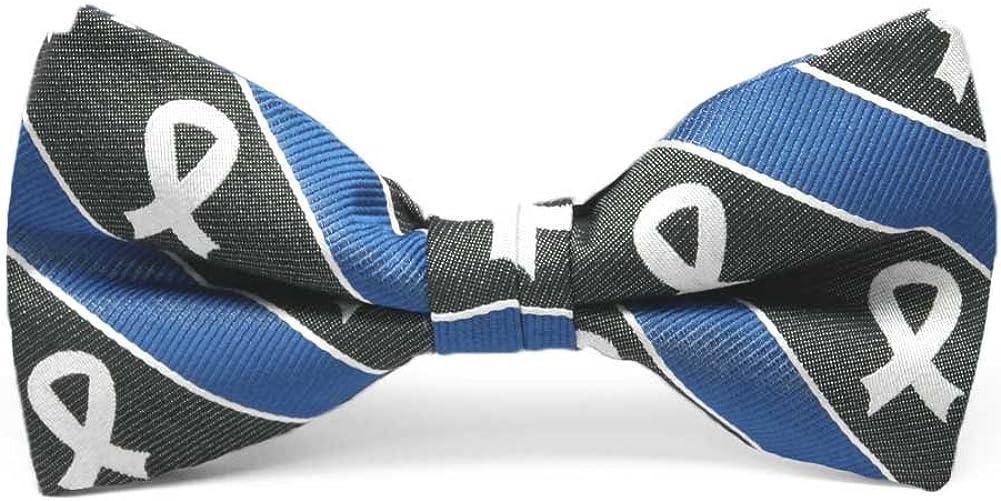 TieMart Lung Cancer Awareness Striped Cotton/Silk Bow Tie