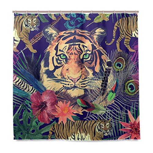 BIGJOKE Duschvorhang, Tiger, Blumen, schimmelresistent, wasserdicht, Polyester, 12 Haken, 182,9 x 182,9 cm, Heimdekoration