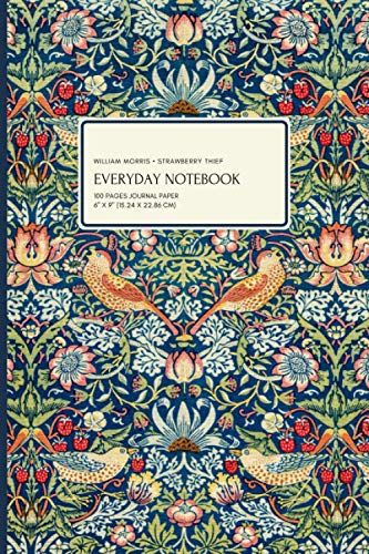 William Morris - Strawberry Thief: Everyday Journal, 100 Pages Journal Paper, 6' x 9' (15.24 x 22.86 cm)