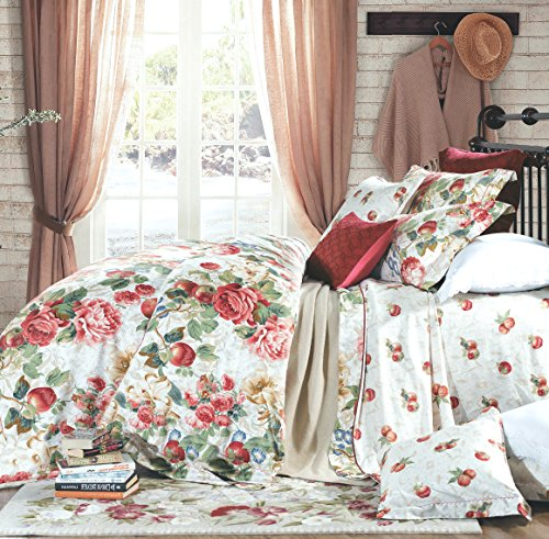 Eikei Shabby Chic French Country Garden Floral Duvet Quilt Cover by, Colorful Blossom Fruit Print Reversible Cotton Bedding Set Cottage Style Blooming Orchard Meadow Flowers (Queen, Ivory)