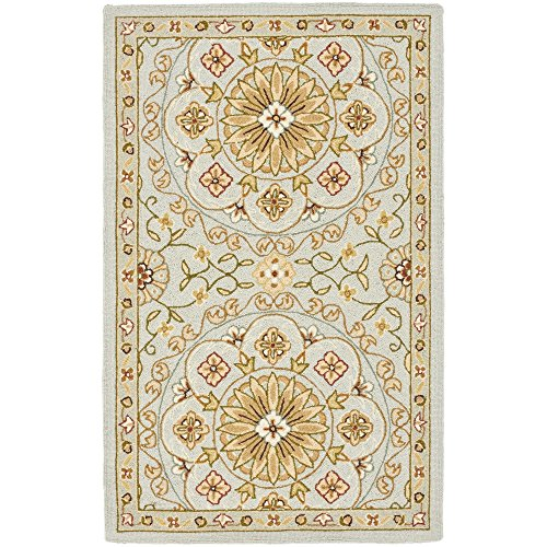 Safavieh Chelsea Collection HK378A Hand-Hooked Teal and Green Premium Wool Area Rug (2'9' x 4'9')