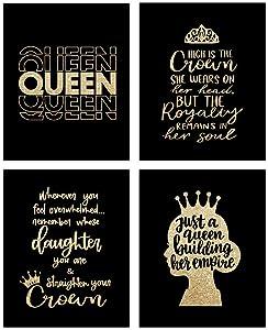 HUYAW Queen Woman Girl Straighten Your Crown Wall Art Prints Set of 4, Inspirational Posters Gifts for Women Teen Girls Room Home Bedroom Wall Art Decor (8 x 10 Unframed)