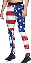 Queen Area Men's Compression Workout Training Pants American Flag Running Sports Leggings for Running