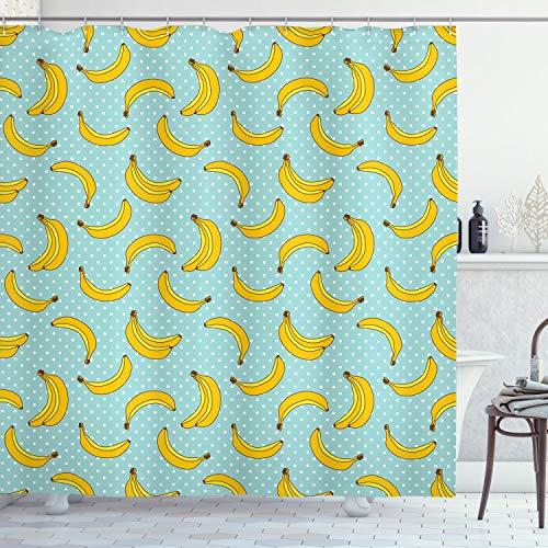 ABAKUHAUS Gelb & Blau Duschvorhang, Bananen Punkte, mit 12 Ringe Set Wasserdicht Stielvoll Modern Farbfest & Schimmel Resistent, 175x240 cm, Babyblau Gelb & Weiß
