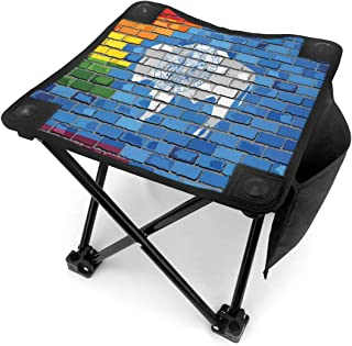 Folding Camping Stool Portable Outdoor Mini Chair Small Seat,Digital Illustration of Equality State and Gay Pride Flags On Brick Wall Look,Barbeque Stool for Fishing BBQ Hiking Gardening