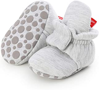 Infant Baby Girl Boy Cotton Booties Soft Stay On Slippers Shoes Non-Skid Sock Boots Grippers Newborn Toddler Crib Winter Shoe First Gift
