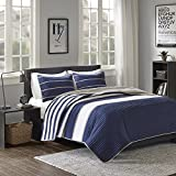 Comfort Spaces Quilt Coverlet Bedspread Ultra Soft Microfiber Pattern Hypoallergenic Bedding Set, Full/Queen, Verone White Blue Stripe