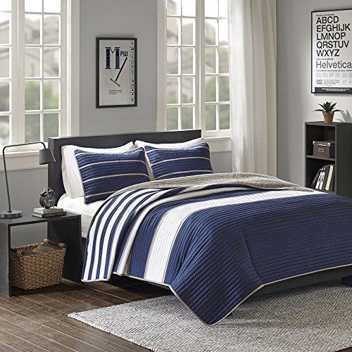 Comfort Spaces Quilt Coverlet Bedspread Ultra Soft Microfiber Pattern Hypoallergenic Bedding Set, Twin/Twin XL, Verone White Blue Stripe,CS14-0213