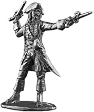 Ronin Miniatures Pirates of the Caribbean Captain Jack Sparrow UnPainted Tin Metal 54mm Action Figures Toy Soldiers Size 1/32 Scale for Home Décor Accents Collectible Figurines ITEM #JackSparrow