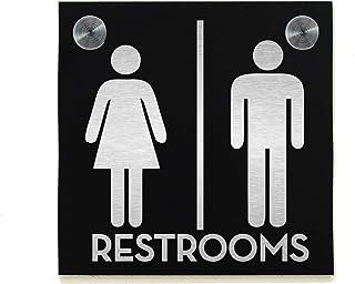 Signe de porte de toilettes d'hôtel - Aluminium noir gravé au Laser de fibre - Signe de WC moderne - Plaque de décor de sa...