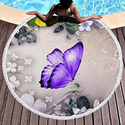 Damoyar Runde Strandtuch Decke Lila Schmetterling Lili Flower Beach Throw mit Quasten Mikrofaser Handtücher Picknick Teppich Yoga Mat-150x150 cm