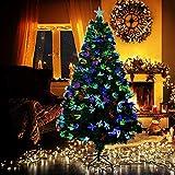 QTQHOME Fibra óptica Árbol De Navidad con Multicolor Led Luces Soporte Plegable Fuegos Artificiales Pino Árbol Navideña Decoración Navideña,Pre-Cama Árbol De Navidad Artificial-Verde 180cm/6ft