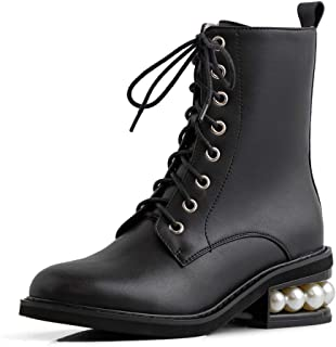 Leather Women's Round Toe Comfortable Mid Chunky Heel Handmade Lace Up Or Zip Up Stylish Ankle Boots with Pearls