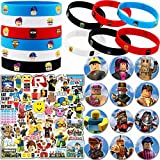Robot Blocks Party Supplies, 74 Pack Birthday Party Favors Set Include 12 Bracelets, 12 Button Pins, 50 Stickers for Video Game Fans Kids