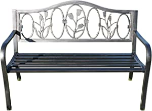 Panchina da Giardino in Metallo con Design in ghisa Floreale Schienale