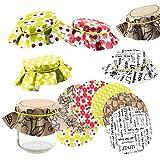 Logbuch-Verlag 30 tapas de papel reciclado para mermelada, 5 x 6 tapetes de colores para tarros de mermelada, manteles de papel