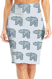 Women's Midi High Waist Skirt Fashion Pencil Skirt Knee Skirts for Office Wear Brazilian Carnival Pattern