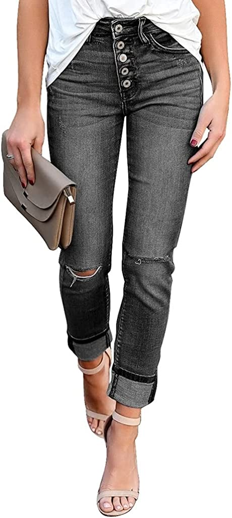 BZB Women's Ripped Skinny Jeans Rolled Hem Button Up Classic Long Jeans Denim Pants