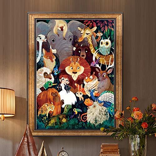 QQSGBD La Costura, de Punto de Cruz DMC DIY, Kit Completo Bordado, Mundo de los Animales león del pájaro del búho patrón Impreso Pintura Punto de Cruz Trabajo Hecho a Mano (Size : 80x60cm Cotton)