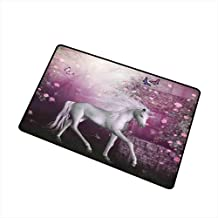 Fantasy Decor Queen Size Inlet Outdoor Door mat Unicorn in Rose Garden Summer Flying Butterflies Romance Fairy Tail Themed Art Catch dust Snow and mud W15.7 x L23.6 Inch Pink White