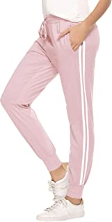 Hawiton Donna Pantaloni Sportivi in Cotone 100% con Tasche Pantaloni da Jogging Fitness per Corsa Sport Pantaloni Lunghi