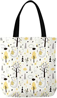InterestPrint Hello Summer Summer Vacation Canvas Tote Bag Handbag for Women