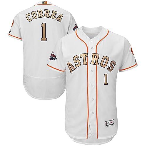 ed28ee75dad Majestic Athletic NO.1 Mens Carlos Correa Houston Astros 2018 Gold Program Baseball  Jersey –