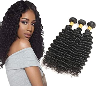 VIYAVIYA Deep Wave 3 Bundles 14 16 18 inch 10A Grade Unprocessed Brazilian 100% Virgin Human Hair Deep Curly Hair Extensions Natural Color Can Be Dyed and Bleached
