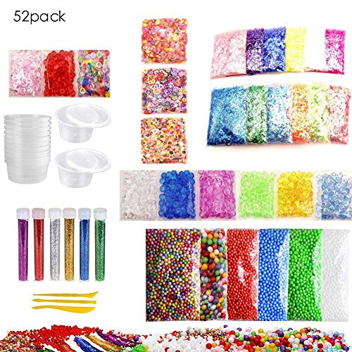Slime Foam Beads Zubehör Kit Foam Ball Set 52 Pack farbige Slime Foam Beads Ball Set Kinder DIY handgefertigte flache Perlen Gold Pulver Papier weichen Lehm Set