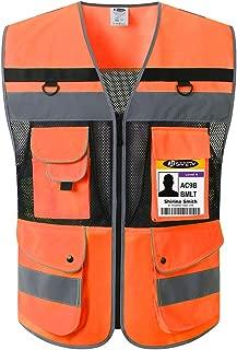 JKSafety 12 Pockets Class 2 High Visible Reflective Safety Vest Zipper Front Large Back Pockets Breathable and Mesh Lining ,Orange-Black Meets ANSI/ISEA Standards (Orange-Black,XX-Large)