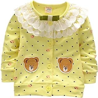 Weixinbuy Baby Girls' Fall Winter Long Sleeve Cotton Cardigan Shirt Clothes