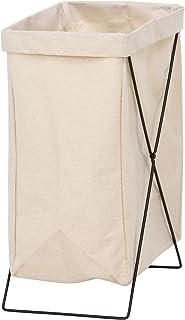 不二貿易 ランドリーバスケット 洗濯かご 幅24cm アイボリー 折りたたみ 持ち運び可能 内側撥水加工 31509