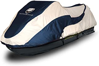 """EliteShield Trailerable PWC Watercraft Jet Ski Cover Jet Ski Cover Fits from 136""""-145""""(3 Seater) Two Tone Navy/Grey"""